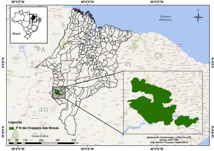 Localização do PNCM no Sul do Maranhão - Location of the PNCM in the South of Maranhão.