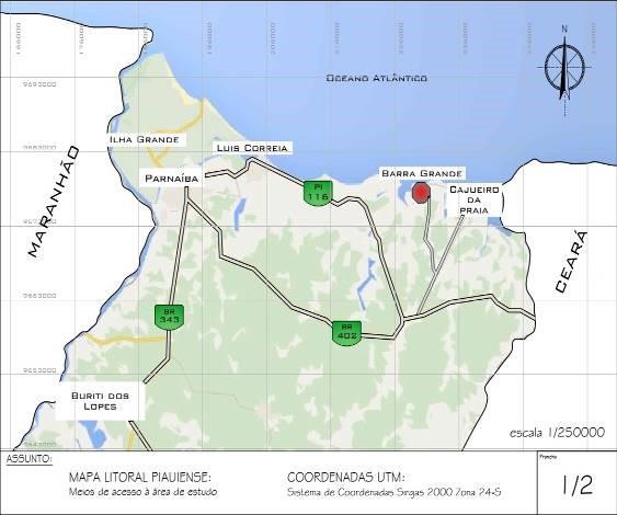 Recorte de mapa do traçado rodoviário da porção norte do Piauí, com destaque para os cinco municípios do Polo Costa do Delta - Mapping of the road map of the northern portion of Piauí, highlighting the five municipalities of the Costa do Delta Polo.