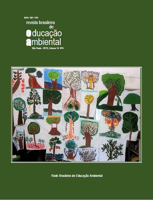 """Painel sobre a Amazônia, feito pelas crianças da Emei Santos Dumont, São Paulo, SP, e inspirado no """"Livro das Árvores"""", da etnia Ticuna. Foto: Lilith Neiman, 2019."""